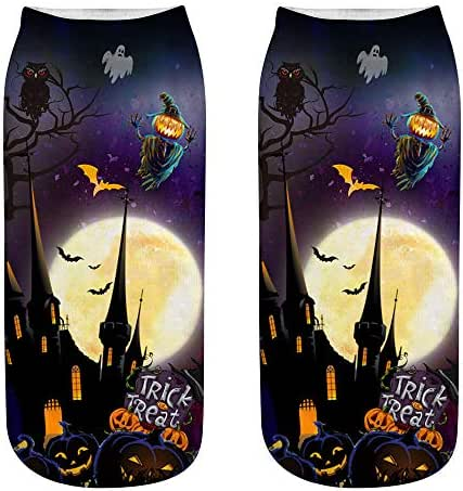 Cute Socks 3D Halloween Printing for Women, Athletic Cushioned Low for Sports