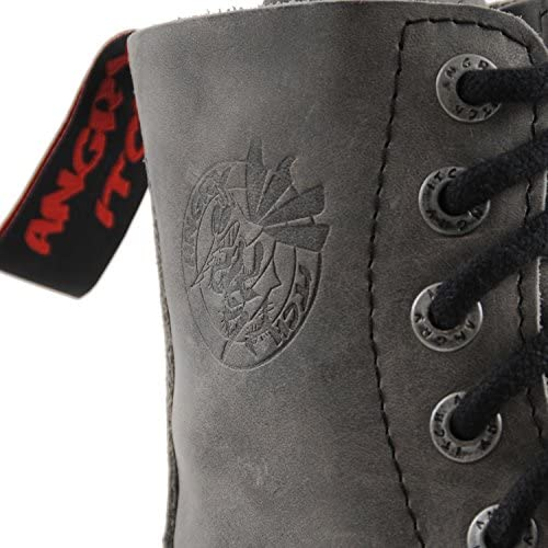 ANGRY ITCH - 8-Loch Gothic Punk Army Ranger Armee Vintage Grau Leder Stiefel mit Stahlkappe 36-48 - Made in EU!  0oMHQ