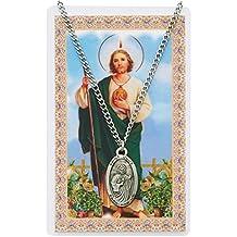 St Jude Prayer Card Set Catholic Saint Christian Pendant Medal