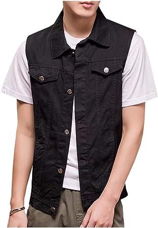Kedera Mens Sleeveless Denim Vest Button-Down Trucker Jean Jacket