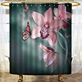 Mikihome Shower Curtains Fabric Orchid Flower with Butter Soft Fresh Theme Art Ba