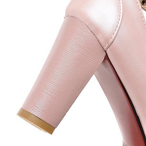 AllhqFashion Mujer Hebilla Puntera Redonda Tacón Alto Pu Sólido De salón Rosa