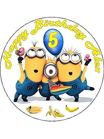 75 Despicable Me Minions Edible Icing Birthday Cake Topper Amazon