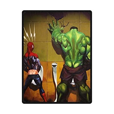 Superhero Hulk in the Toilet Custom Blanket 58*80 Inch Creative Cotton Blanket Indoor / Wool Cloth with soft nap blanket / Outdoor Blanket