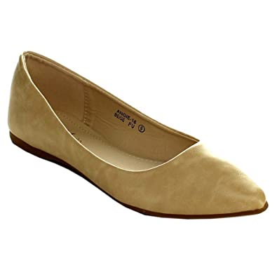156a648793f8f BellaMarie Angie-18 Womens Classic Pointy Toe Ballet Flats