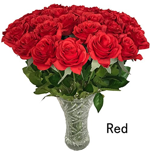 15 Red Roses (DALAMODA 15 Pcs Real Touch Silk Artificial Rose Flowers Home Decorations for Wedding Party or Birthday Garden Bridal Bouquet Flower Saint Valentine's Day Gifts Party Event (Red 15pcs))