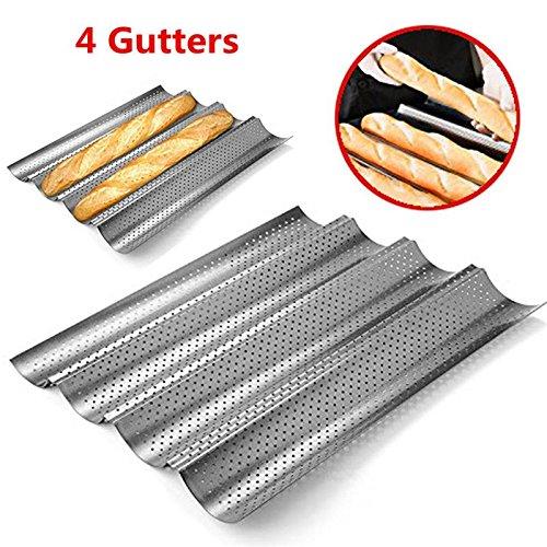 Carbon Steel 4 Gutters Bread Mould Nonstick Perforated Baguette Baking Pan Wave Loaf Mould Bakeware Home DIY Baking Tools