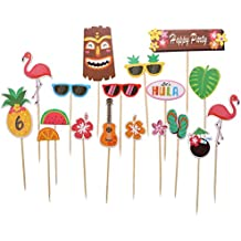 Tropical Hawaiian Cupcake Toppers, Luau Summer Themed Party Decorations, 18 pcs