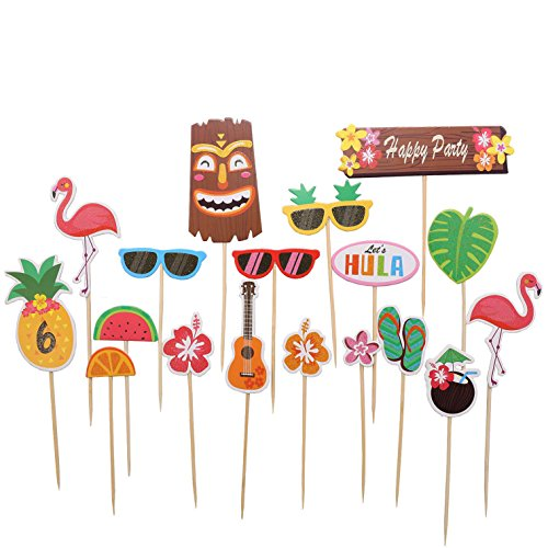 Tropical Hawaiian Cupcake Toppers, Luau Summer Themed Party Decorations, 18 pcs -