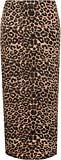WearAll Women's Animal Leopard Spot Print Long Stretch Maxi Skirt - Brown - US 18-20 (UK 22-24)