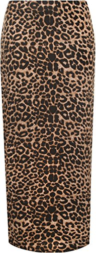 WearAll Women's Animal Leopard Spot Print Long Stretch Maxi Skirt - Brown - US 22-24 (UK 26-28) (Stretch Leopard Skirt)