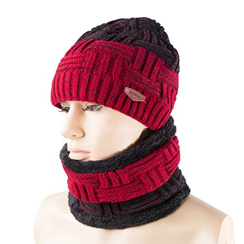 Winter Warm Beanie Knitting Hat Scarf Neck Warmer Set for Men and Women, Warm Fleece Lined Wool Baggy Slouchy Thick Ski Skull Cap by REDESS