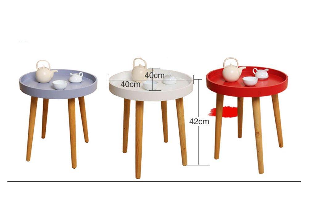 サイドテーブル 木脚 円形 丸 ラウンドテーブル 木製 円形 丸型サイドテーブル S/L/2個SET ナイトテーブル リビングテーブル ローテーブル 机 サブテーブル 木製テーブル 円形 テーブル ホワイト レッド グレー 天然木 2個セット リビングテーブル ナイトテーブル ローテーブル 机 2個セット 全3色 B01MRYGYMO Small|ホワイト ホワイト Small