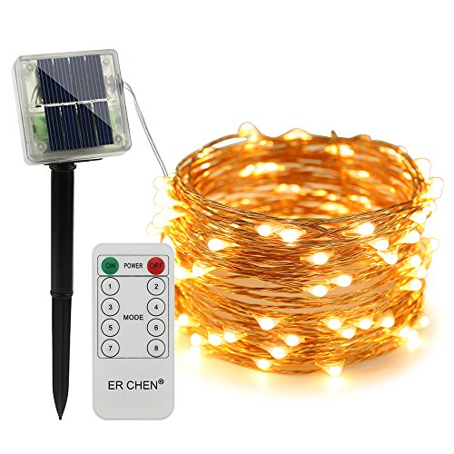 (ErChen Remote Control Solar Powered Led String Lights, 33FT 100 Leds Copper Wire Waterproof 8 modes Decorative Fairy Lights for Outdoor Christmas Garden Patio yard (Warm White))