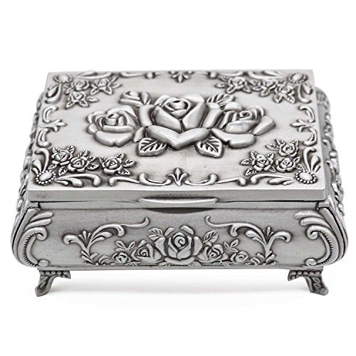(AVESON Rectangle Vintage Metal Jewelry Box Trinket Storage Organizer Gift Box Chest Ring Case with Rose Pattern for Girls Ladies Women, Medium)