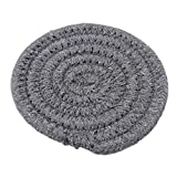 GUAngqi Japanese-style Creative Cotton Thread Hand-Woven Coasters Placemat Durable Heat-Insulation Pad ,Dark gray