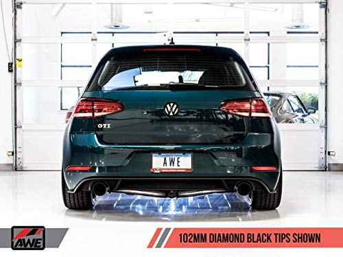 (AWE Touring Exhaust w/Diamond Black Tips 102mm for Volkswagen GTI MK7.5 2.0T)