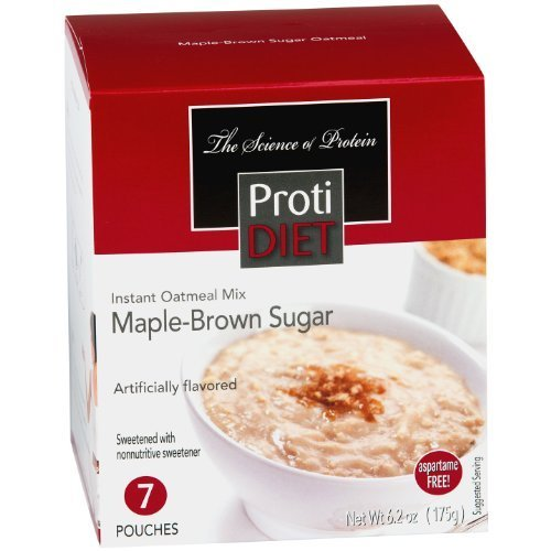 Protidiet - Maple-Brown Sugar Instant Oatmeal Mix, 7 pouches, 6.2 oz (Instant Oatmeal Maple And Brown Sugar Nutrition)