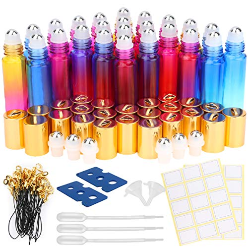 Glass Roller Bottles, ESARORA 24 Pack 10ml Gradient Color Essential Oil Roller Bottles with Stainless Steel Roller Ball and Golden hanging cap(3 Dropper,2 Funnel,6 Extra Roller Ball,30 Label,2 - Bottles Perfume Roll