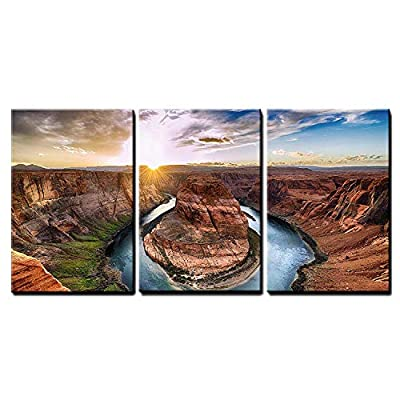 3 Piece Canvas Wall Art - Sunset Moment at Horseshoe Bend, Colorado River, Grand Canyon National Park, Arizona USA - Modern Home Art Stretched and Framed Ready to Hang - 16