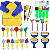 EVNEED Paint Sponges for Kids,29 pcs of fun Paint Brushes for Toddlers. Coming with sponge brush,flower pattern brush,Brush set,long sleeve waterproof apron with 3 roomy pockets