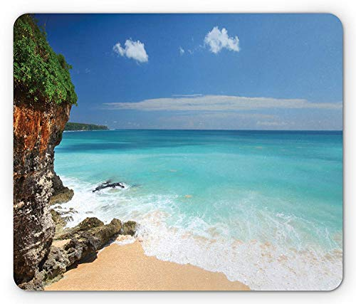 Beach Mouse Pad, Tropical Beach Seaside Cliff and Clear Sky of Bali Island Indonesia Image, Standard Size Rectangle Non-Slip Rubber Mousepad, Sand Brown Blue Green,8.66 x 7.08 x 0.118 Inches