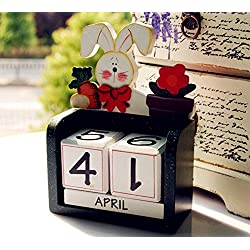 LANGUGU Shabby Chic Vintage Creative Wooden Cubes Daily Perpetual Desktop Calendar Living Room Decoration Home Office Furnishing DIY Yearly Planner Calendar Shops Ornaments (Four Season)