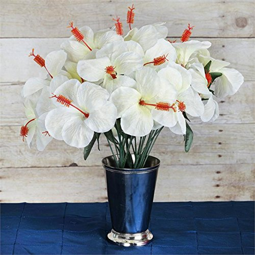 Hibiscus Wedding - Efavormart 60 pcs Artificial Hibiscus Flowers for DIY Wedding Bouquets Centerpieces Party Home Decorations - 12 Bushes - Ivory