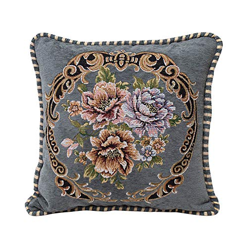 Aoesila Chenille Square Pillow Cover Cushion Case Toss Pillowcase Hidden Zipper Closur18 x 18 ()