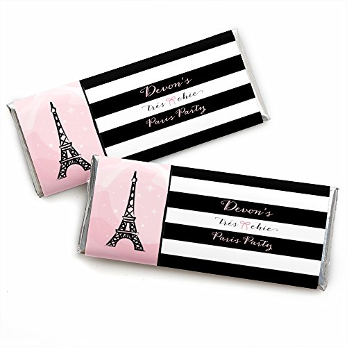Custom Paris, Ooh La La - Personalized Paris Themed Baby Shower or Birthday Party Favors Candy Bar Wrappers - Set of 24 ()