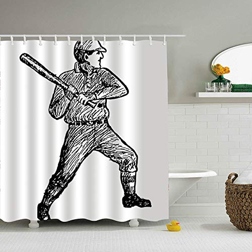 Qilrocm Baseball Player Waterproof Polyester Fabric Bathroom Shower Curtain for House -