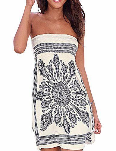 Totem Print Floral Mini Dress (White) - 1