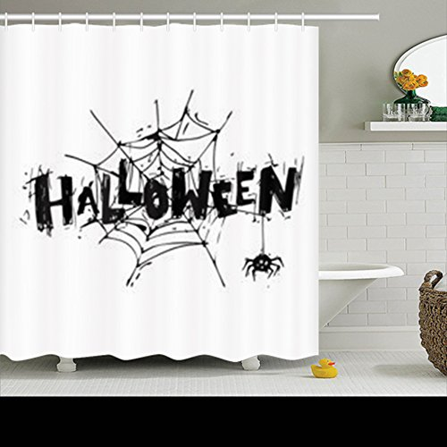HomeCOO Design Shower Curtains Happy Halloween Poster Banner Flyer Spider Trick Treat 72 By 72 Inches 100% Polyester Fabric Waterproof Mildew Resistant Bath Bathroom (Happy Halloween Banner Print Out)