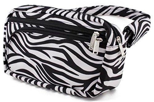 Ladies Large Zebra Print Anti-Theft Fanny Pack