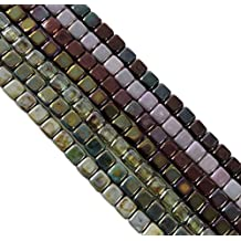 Metallic and Luster Mix 6mm Square Czech Czechmate Glass Two Hole Tile Bead Approx 175