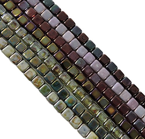 Metallic and Luster Mix 6mm Square Czech Czechmate Glass Two Hole Tile Bead Approx (6 Mm Square Green)