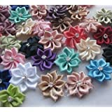 FidgetFidget Stone Satin Ribbon Flowers sewingappliques Craft DIY Wedding Lots 40PCS E198 WMix Color