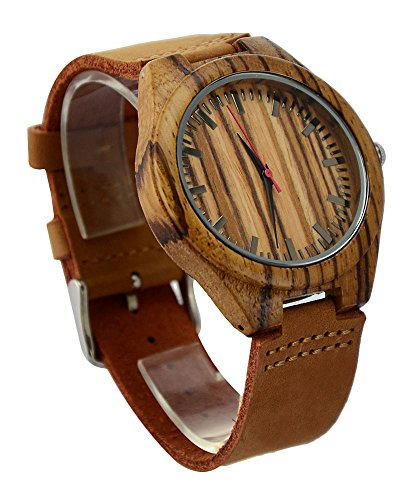 Ideashop Men's Zebra Bamboo Wooden Watch With Genuine Cowhide Leather Band Casual Watches Creative Gifts by...