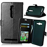 for Asus ZenFone 2 Premium PU Leather Case Pouch, Flip Wallet Case Silicone Cover with Card and Cash Slot for Asus ZenFone 2 5.5 inch ( Color : Black-Asus ZenFone2 5.5 Inch )