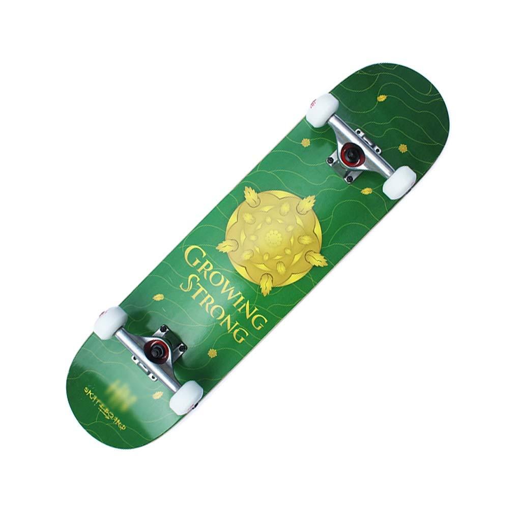 LIUFS-スケートボード 十代の成人向け初心者向け31.5インチスケートボード仕上げ利点調整ツールを含むダブルロッカー凹面クルーズスキル - パターン 緑