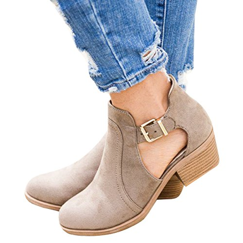 Daomumen Booties For Women Suede Leather Low Heel Buckle Boots Round Toe Cut Out Western Shoes