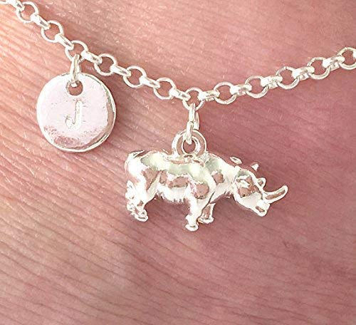 Silver Rhino anklet ankle bracelet