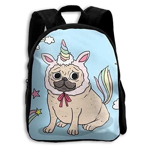 Funny Pug With Unicorn Costume School Backpacks For Kids 13