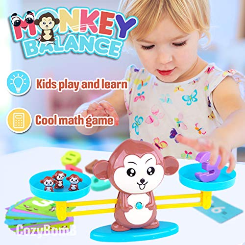 CozyBomB Monkey Balance Counting Cool Math Games - STEM Toys for 3 4 5 Brown