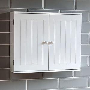 Bath Vida Priano Bathroom Cabinet Double Door Wall Mounted Storage Shelf, White