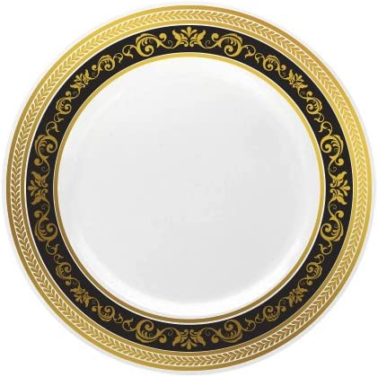 Heavyweight Elegant Disposable Plastic 7 Inch Plates Black-Gold Rim Decorline 10 pieces. Wedding Party Royal Collections Collection