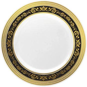 Amazon.com: buyNsave Black With Gold Heavyweight Plastic Elegant ...