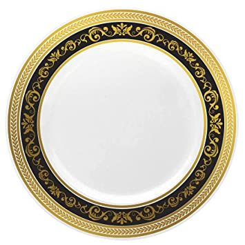 Posh Setting Royal Collection China Look White Gold/Black Plastic Plates (Includes 1  sc 1 st  Amazon.com & Amazon.com: Posh Setting Royal Collection China Look White Gold ...