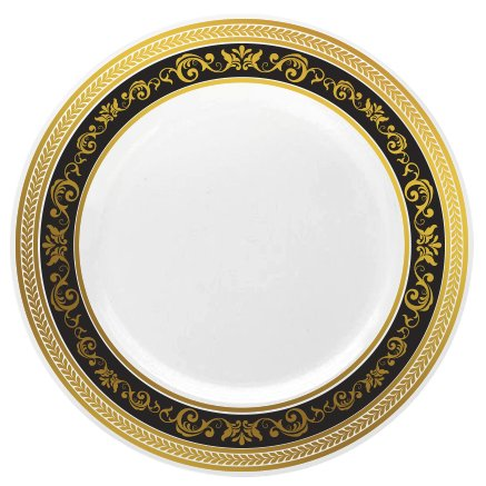 Posh Setting Royal Collection China Look White, Gold/Black Plastic Plates (Includes 1 Pack of 10.25'' Dinner Plates A total of 10 plates) Fancy Disposable Dinnerware