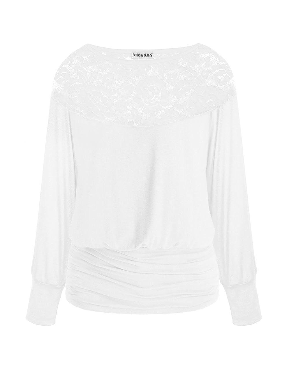 a8675deb006a Yidarton Top Blouse Manche Longue Femme š€ Col Rond Dentelle Creux Casual  Tee Shirt Haut Mode (M